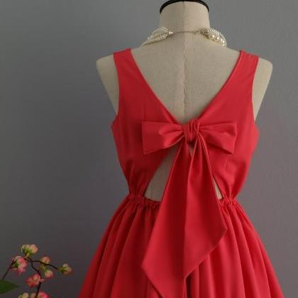 Red dress backless dress Red party ..