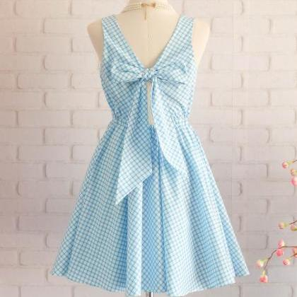 Plaid dress plaid sundress blue dre..