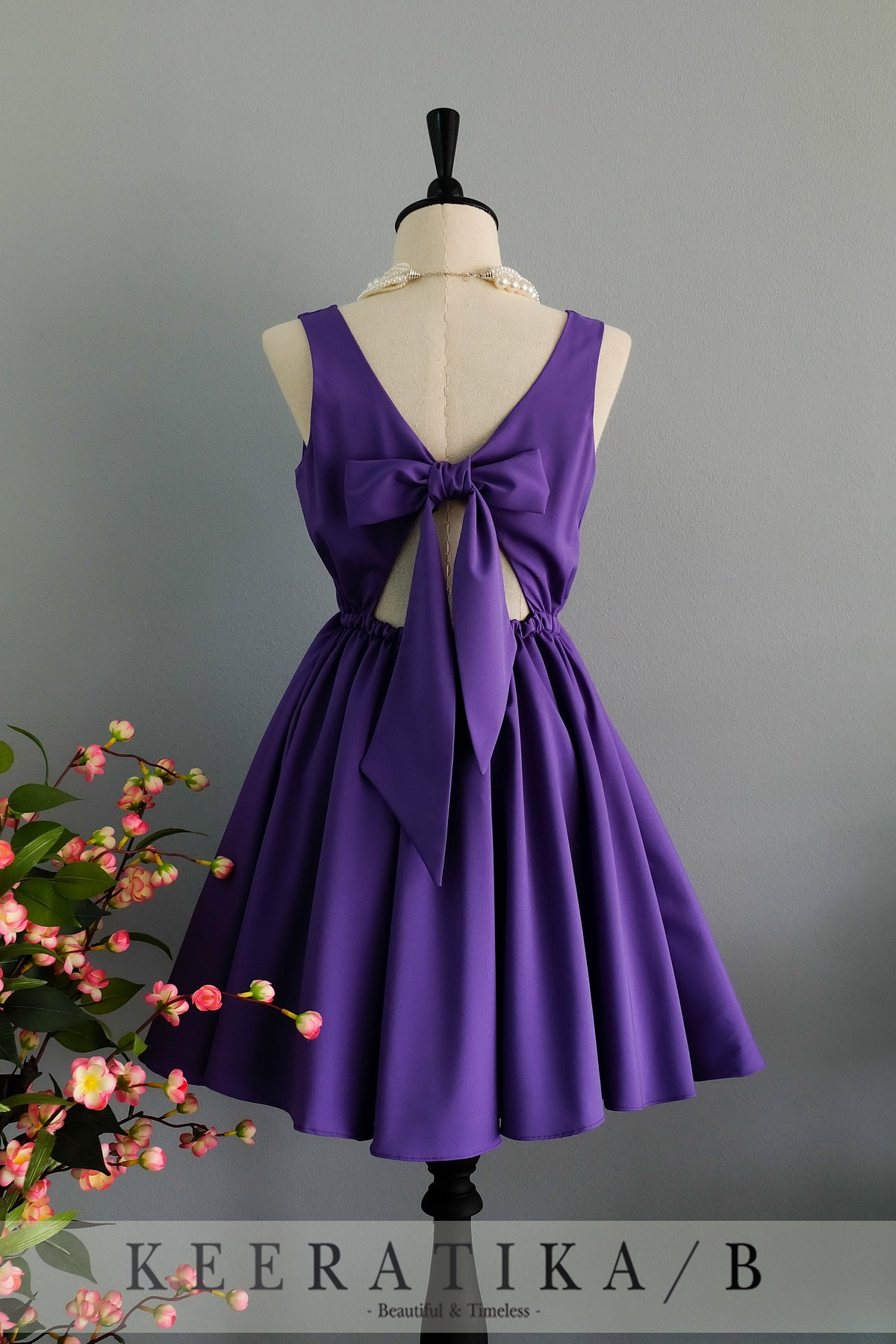 Purple Sleeveless Square Neck Short Skater Dress Featuring Bow Accent Cutout Back, Homecoming Dress, Bridesmaid Dress