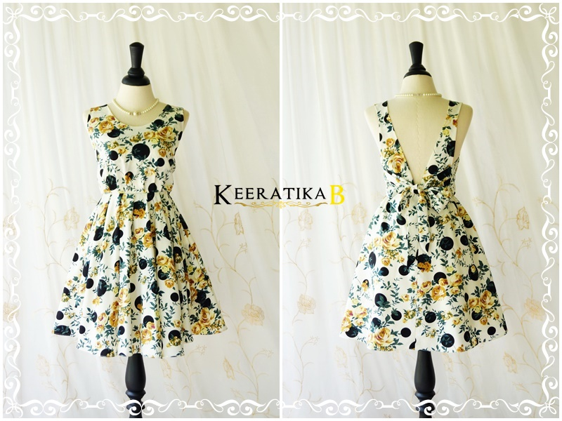 A Party V Charming Backless Dress Gold/Green Floral Black Polka Dot Dress Floral Party Prom Dress Sundress Wedding Bridesmaid Dress XS-XL