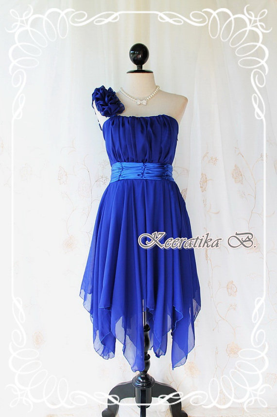 Juliet S Party Royal Blue Cocktail Dress One Shoulder Strap Pleated Top Asymmetric Sharp Hem On Luulla,Corset For Wedding Dresses