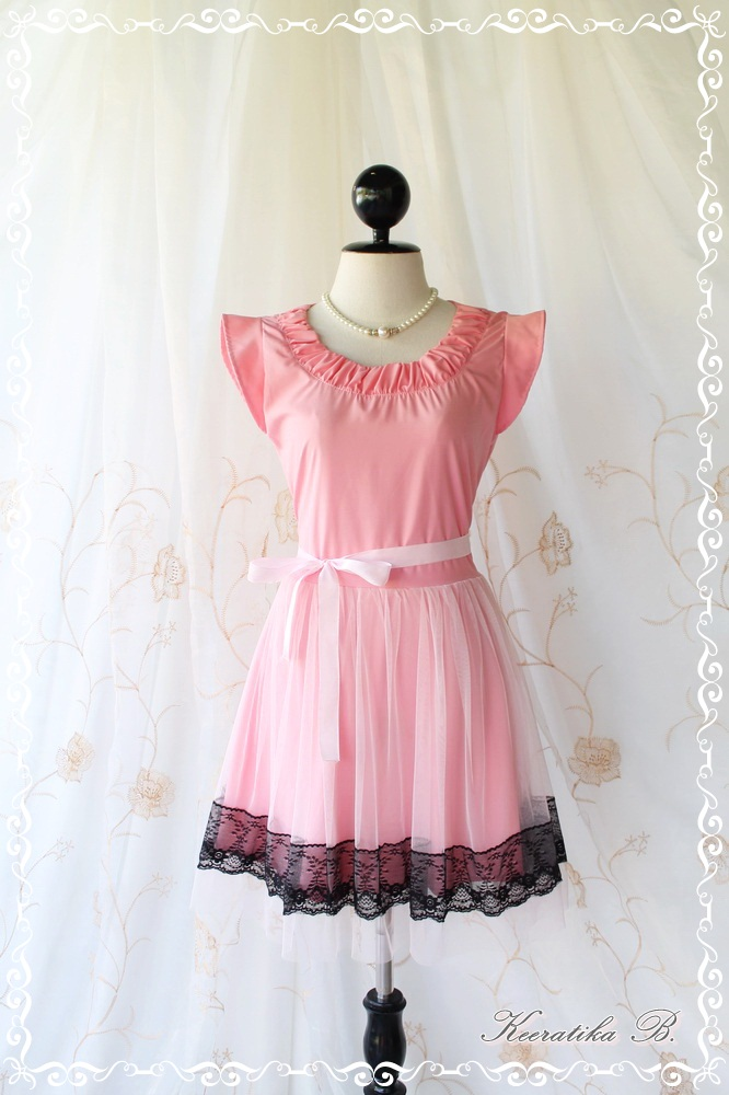 Lady In Tokyo - Sweet Pink Girly Dress Pucker Round Neck Two Layers Skirt With Tutu and Black Lace Party Wedding Cocktail Dinner Dress