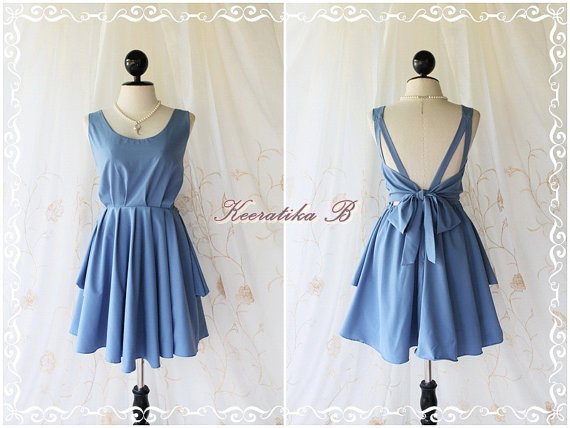 A Party - V Shape - Prom Party Cocktail Bridesmaid Dinner Wedding Night Backless Dress Dusty Powder Blue Glamorous Cocktail Dress