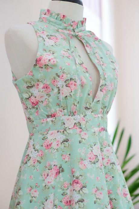 HANDMADE DRESS Marry Floral dress Vintage dress spring summer sundress Mint green floral dress green bridesmaid dresses