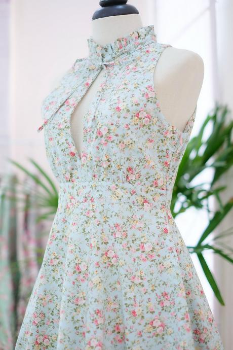HANDMADE DRESS Marry Floral dress Vintage dress spring summer sundress blue floral dress blue bridesmaid dresses