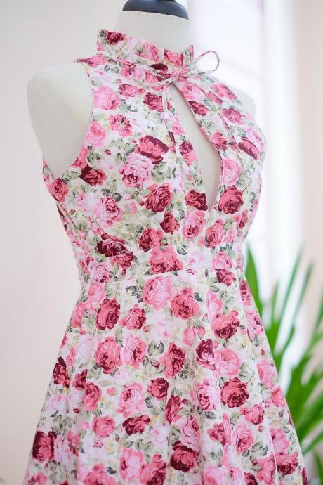HANDMADE dress Marry Floral dress Vintage dress spring summer sundress purple floral dress pink bridesmaid dresses