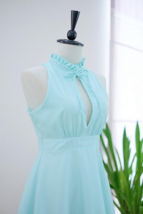 HANDMADE dress Marry Sundress mint green dress ruffle neck green bridesmaid dress prom dress party dress cocktail dress