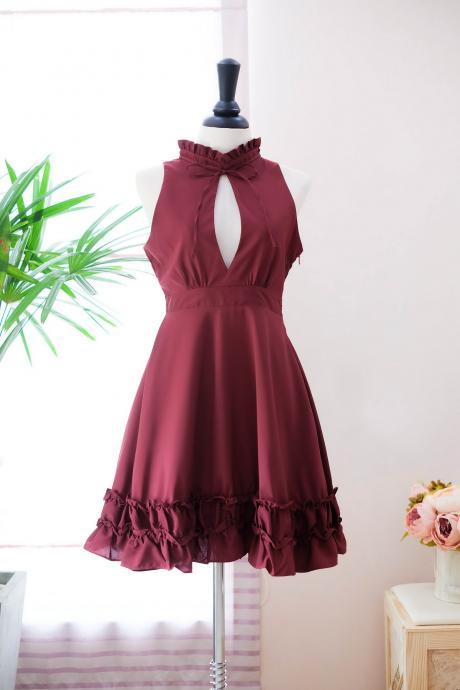 HANDMADE dress Marry Sundress burgundy dress red dress ruffle neck burgundy bridesmaid dress prom dress party dress burgundy cocktail dress