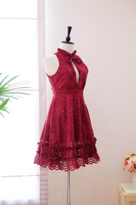 HANDMADE dress Marry Sundress Burgundy dress Red Lace dress lace party dress prom dress red bridesmaid dress lace cocktail dress