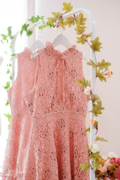 HANDMADE dress Marry Sundress Pink dress Pink Lace dress lace party dress prom dress pink bridesmaid dress lace cocktail dress