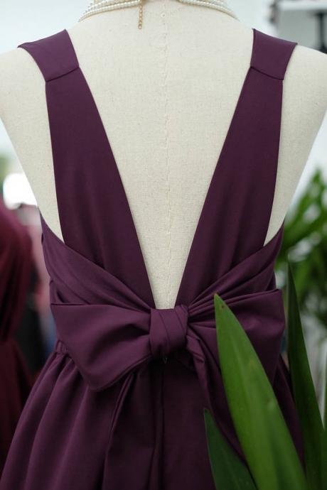 HANDMADE DRESS Plum dress Plum party dress Plum prom dress Plum cocktail dress bow back dress Plum bridesmaid dresses Plum dresses