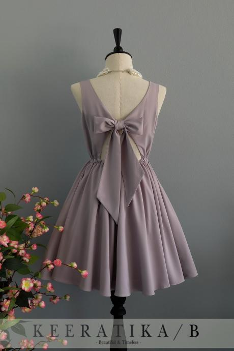 Pale Gray dress backless dress Pale Gray party dress Pale Gray prom dress Pale Gray cocktail dress bow back dress Pale Gray bridesmaid dresses