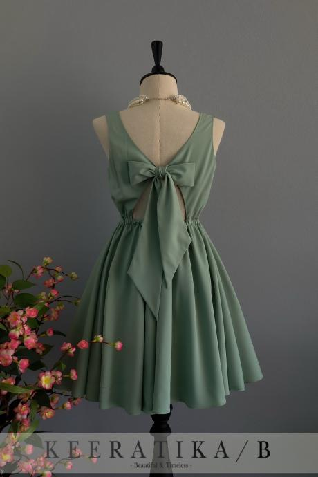 Sage green dress backless dress Sage green party dress Sage green prom dress Sage green cocktail dress bow back dress Sage green bridesmaid dresses