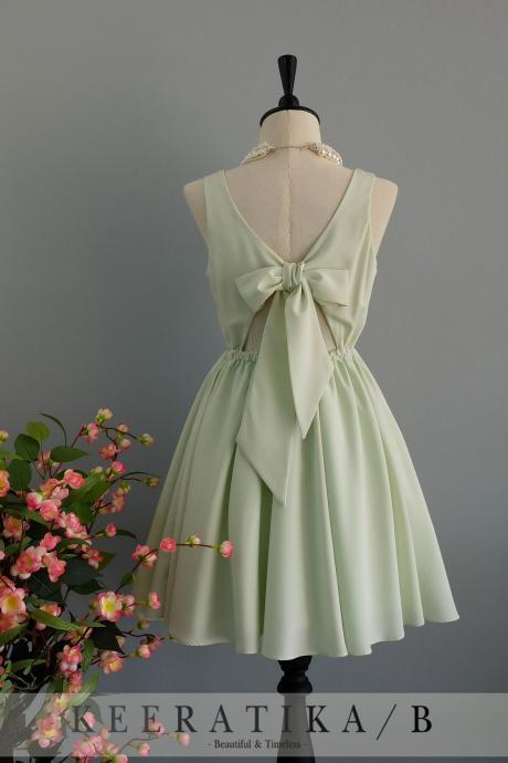 Pale green dress backless dress Pale green party dress Pale green prom dress Pale green cocktail dress bow back dress Pale green bridesmaid dresses