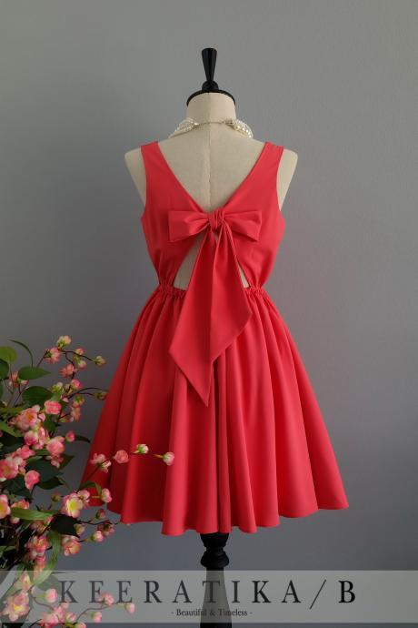 Red dress backless dress Red party dress Red prom dress Red cocktail dress bow back dress Red bridesmaid dresses