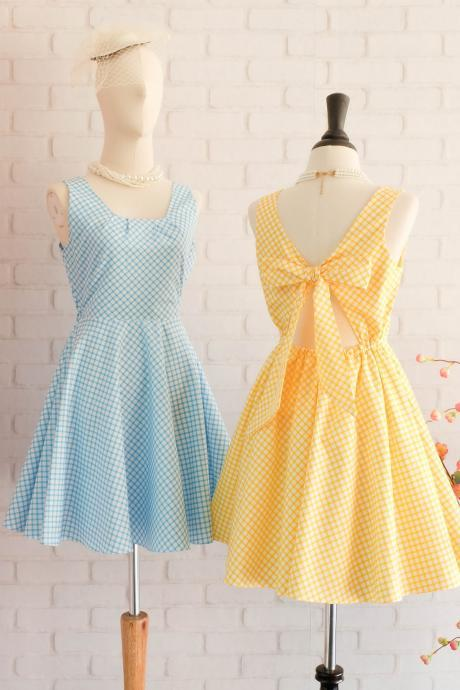 Plaid dress plaid sundress blue dress yellow dress party dress blue party dress yellow bridesmaid dress yellow party dress