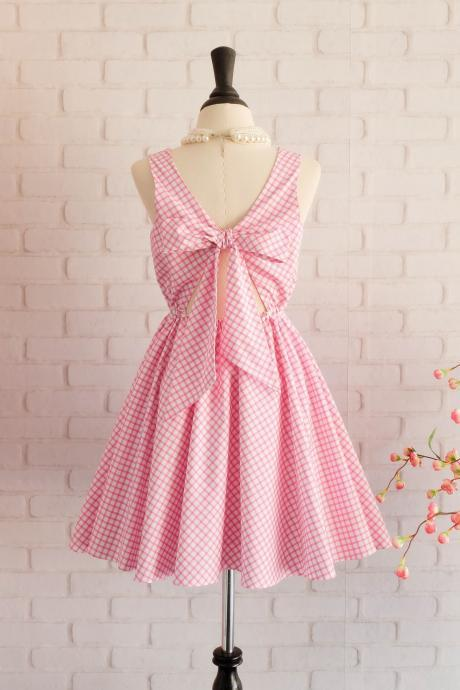 Plaid dress plaid sundress pink dress pink bow dress party dress pink party dress pink bridesmaid dress pink sundress