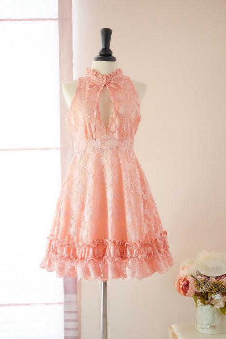 HANDMADE dress Marry Sundress Peach dress Peach Lace dress lace party dress prom dress Peach bridesmaid dress Peach lace cocktail dress