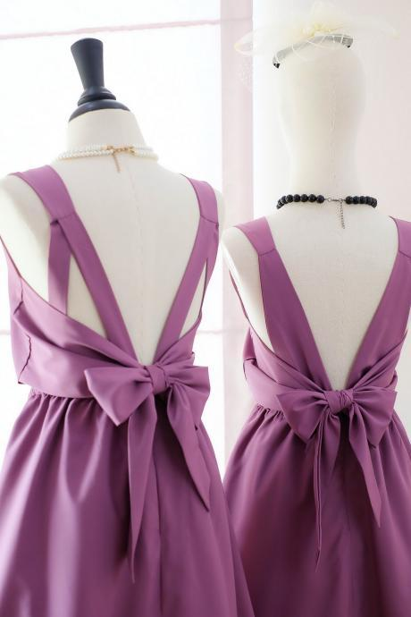 HANDMADE DRESS Dark lilac dress Dark lilac party dress Dark lilac prom dress Dark lilac cocktail dress bow back dress Dark lilac bridesmaid dresses Dark lilac dresses