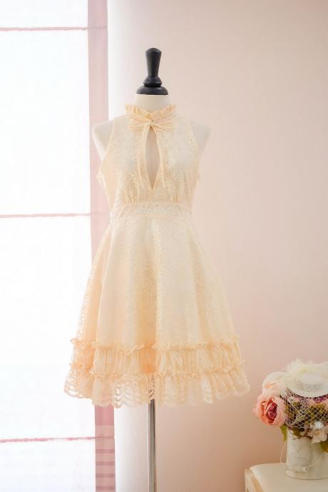 HANDMADE dress Marry Sundress yellow dress yellow Lace dress lace party dress prom dress yellow bridesmaid dress yellow lace cocktail dress
