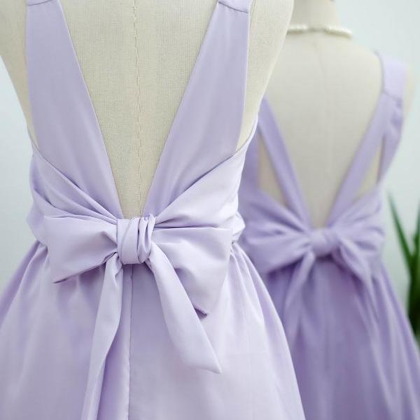 HANDMADE DRESS Lilac dress Lilac party dress Lilac prom dress Lilac cocktail dress bow back dress Lilac bridesmaid dresses Lilac dress