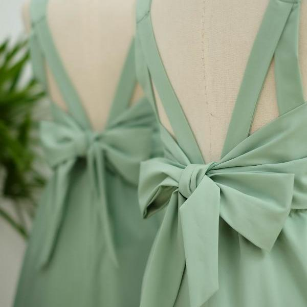 HANDMADE DRESS Sage green dress Sage green party dress Sage green prom dress Sage green cocktail dress bow back dress Sage green bridesmaid dresses Sage green dresses