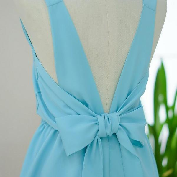 HANDMADE DRESS Blue dress Blue party dress Blue prom dress Blue cocktail dress bow back dress Blue bridesmaid dresses Blue dresses