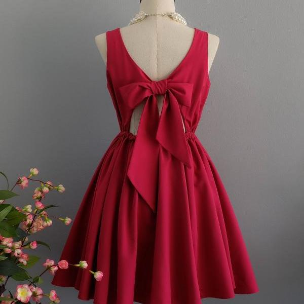 Raspberry dress backless dress Raspberry party dress Raspberry prom dress Raspberry cocktail dress bow back dress Raspberry bridesmaid dresses