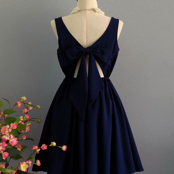 Navy dress backless dress Navy party dress Navy prom dress Navy cocktail dress bow back dress Navy bridesmaid dresses