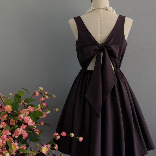 Charcoal Gray dress backless dress Charcoal Gray party dress Charcoal Gray prom dress Charcoal Gray cocktail dress bow back dress Charcoal Gray bridesmaid dresses