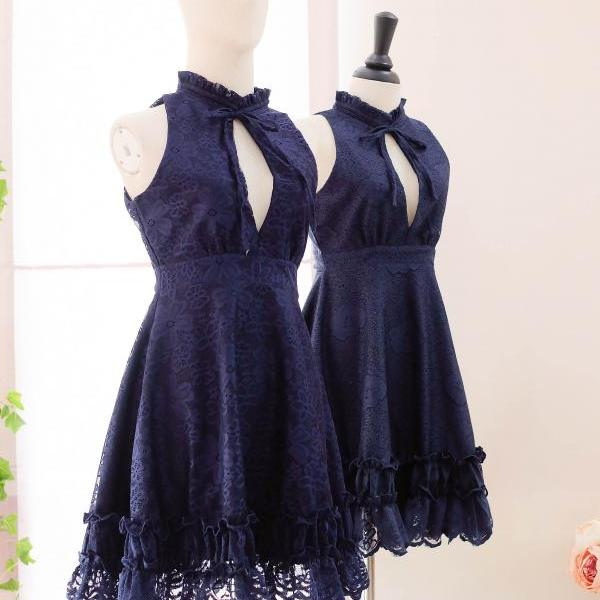HANDMADE dress Marry Sundress Navy lace dress ruffle neck navy bridesmaid dress prom dress party dress navy lace cocktail dress lace dresses
