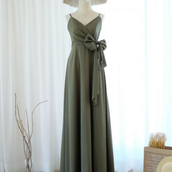 LINH Olive green bridesmaid dress bridal dress floor length cocktail party wedding dresses