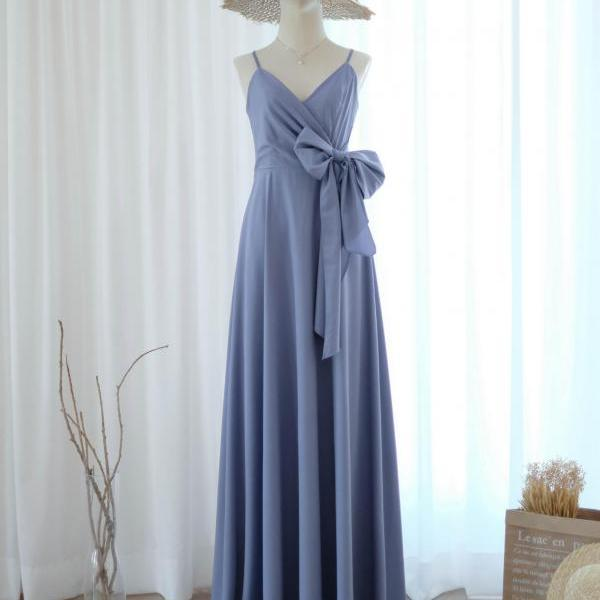 LINH Grayish blue bridesmaid dress bridal dress floor length cocktail party wedding dresses