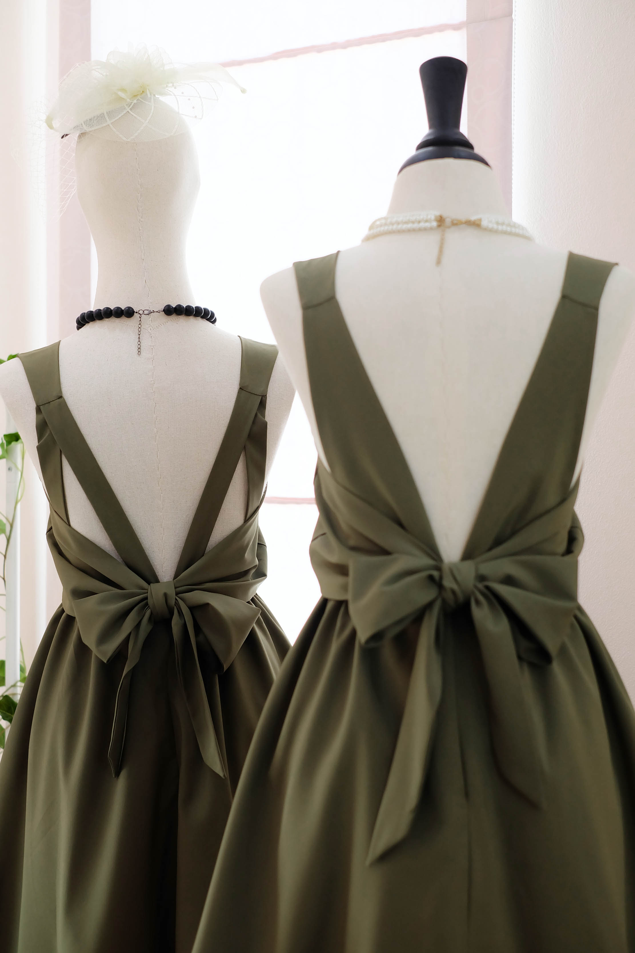 Handmade Dress Dark Olive Green Party Prom Tail Bow Back Bridesmaid